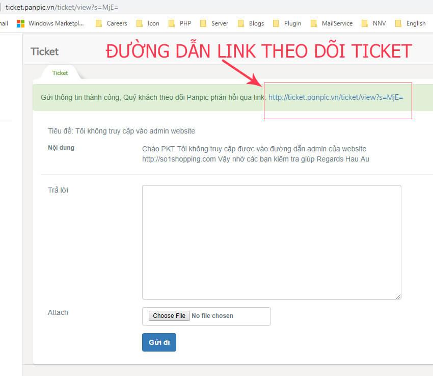 link url theo dõi trạng thái ticket