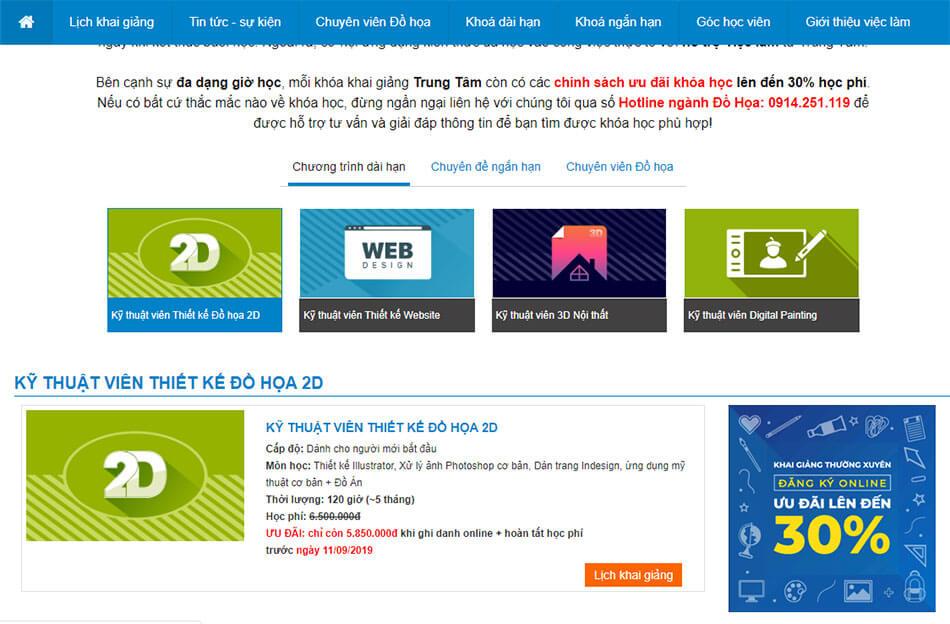 thiết kế web học trực tuyến
