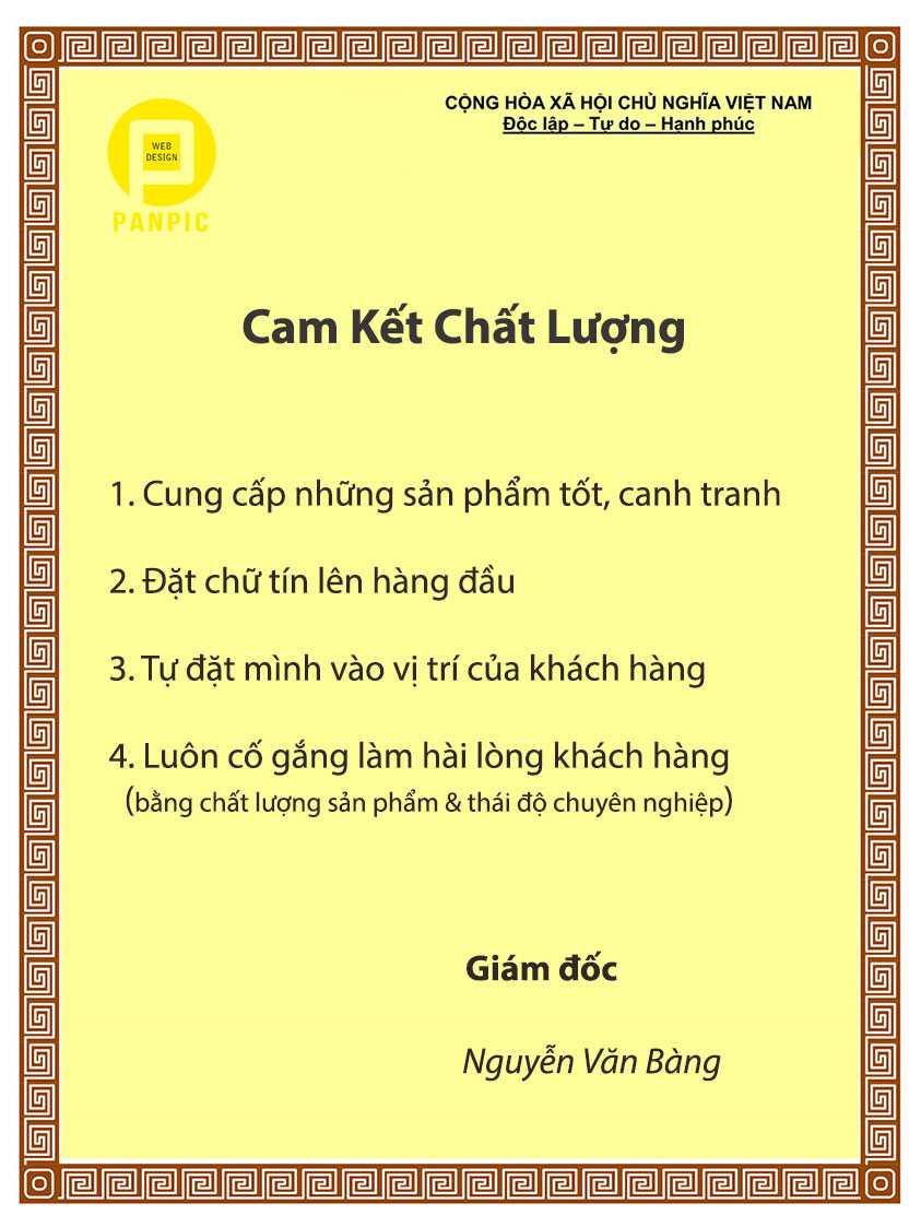 panpic cam ket chat luong dich vu san pham